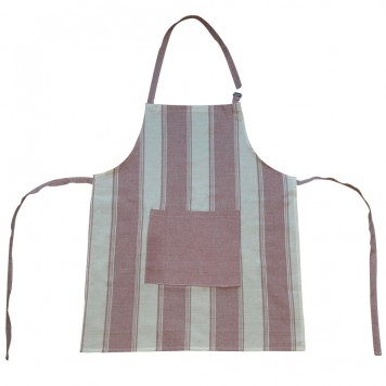 Cotton Apron with Stripes & Pocket, Red