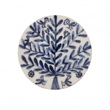 Blue and white plates, Tree with Birds and Bees-5
