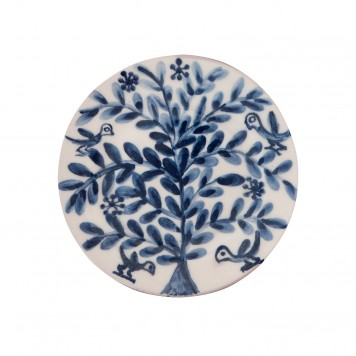 Hand painted Decorative Blue and White Plates-Birds on Flower II-6