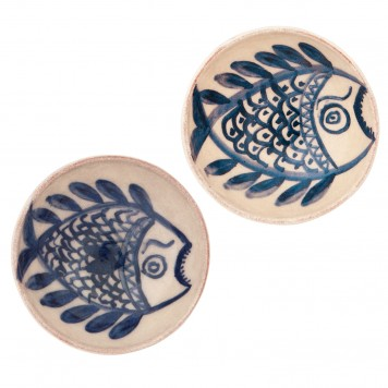 Small Pottery Bowls   Set of 2   Summer Nautical Bowls Hand Painted Fishes -1