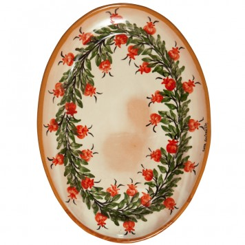 Red-ware-Platter-Hand-Painted-Pomegranates-1
