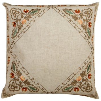 Embroidered Cushion Cover-Flowers