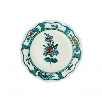 Hand_Painted_Ceramic_Fruit_Decorative_Plate-Flower_I_Cyan-4
