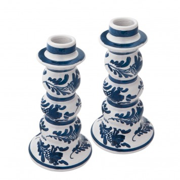 Skyriana Candle Holders, Ceramic Blue and White Candle holders - 3