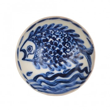 Hand Painted Serving Bowls -Fish on waves-5