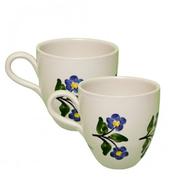 Pottery Coffee Mugs - Toile flowers - Set of 2-1