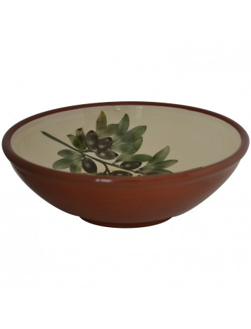 Large Pottery Bowls with hand painted Olives-2