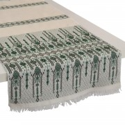 Candlestick Cotton Table Runner, Green (M)