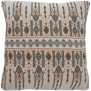 Candlestick Jacquard Cotton Cushion Cover, Brown