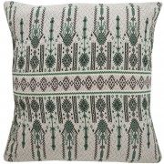 Candlestick Jacquard Cotton Cushion Cover, Green