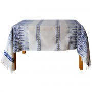 Candlestick Jacquard Tablecloth, Blue/White