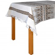 Candlestick Jacquard Tablecloth, Brown