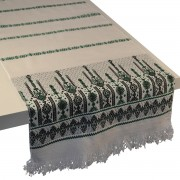 Candlestick Jacquard Table Runner, Moss (S)