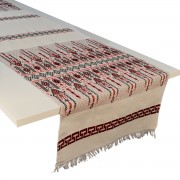 Candlestick Jacquard Table Runner, Red (L)