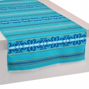 Krinos Jacquard Table Runner, Aegean Blue (L)