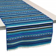 Paros Jacquard Table Runner, Summer Blue (L)