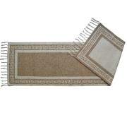 Greek Key Cream Hall Runner Rug, Two-Sided, 65x220cm