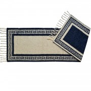 Greek Key Midnight Blue Hall Runner Rug, Two-Sided, 65x200cm