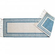 Greek Key Two-Sided Runner Rug, Aegean Blue, 65x220cm