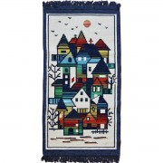 Village Rug, Greek Blue, 50x100cm