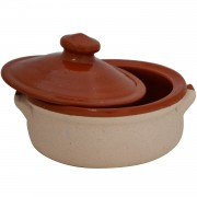 Small Casserole Dish with Lid, Sand Coated
