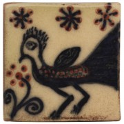 Handpainted Ceramic Coaster, Peacock