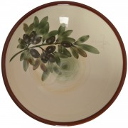 Hand-painted Olives, Large Pottery Bowl, d: 22.5cm