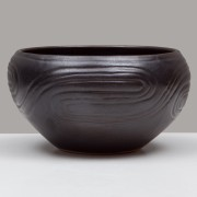 Black Ceramic Bowl, Engraved, d:11cm
