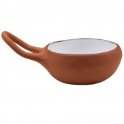 Bowl with Handle, Terracotta Hue, d: 15cm