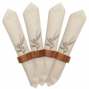 Embroidered Cloth Napkins & Wooden Rings, S/4