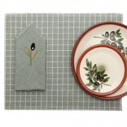 Set of Cloth Placemat & Cloth Napkin, Green