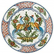 Pair of Peacocks, Hand Painted Plate, d: 24cm