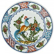 Peacock, Hand Painted Plate, d: 24cm