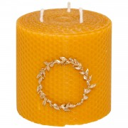 Pure Beeswax Candle & Bronze Wreath, h:10cm