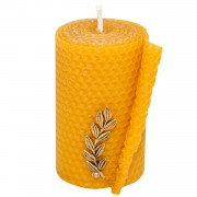 Natural Beeswax Candle with Bronze Leaf, h:10cm