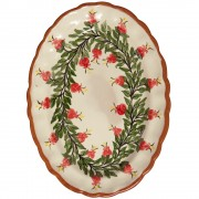 Double Pomegranate Wreath I, Oval Platter, d:35.5cm