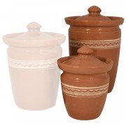 Zig Zag Ceramic Jar, Set Small+Big