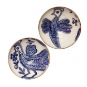 Birds, Small Pottery Bowls, Set of 2, d:11cm