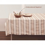 Striped Tablecloth & 6 Linen Napkins