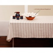 Striped Tablecloth + 8 Linen Napkins, Set