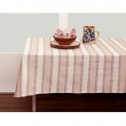 Striped Tablecloth 150x150 + 4 Table Napkins, Cherry Red