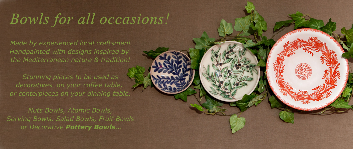 Authentic mediterranean Handcrafted Ceramic Bowls